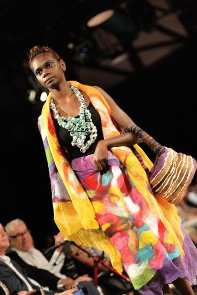 Model Rhondell Williams wears MIArt Design Mornington Island collection Melaa Thaldin at VAMFF 2016.