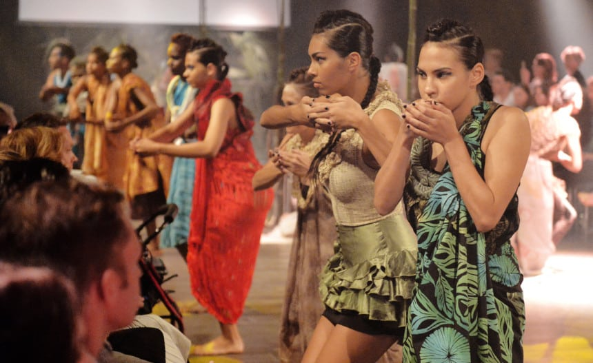 Indigenous models perform a spiritually and mesmerising dance for Birrimbi Dulgu Bajal fashion showcase at VAMFF 2016.