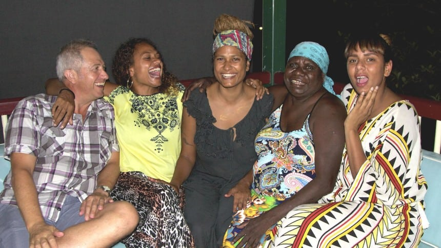 Noni, Alice and Grace with their Babba and Kikka in Maningrida.